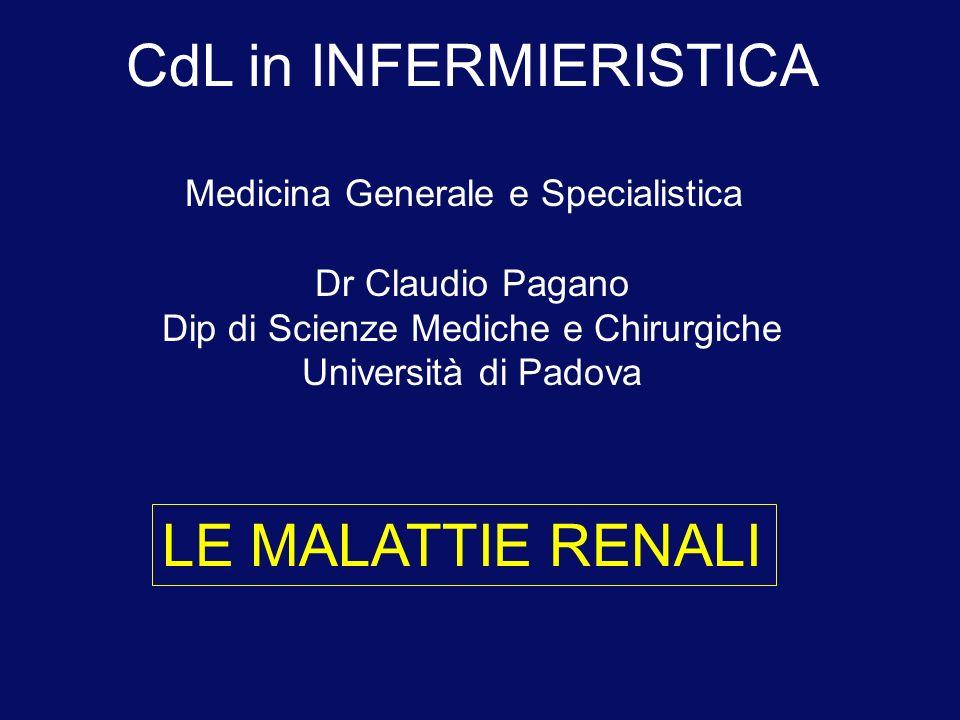 LE MALATTIE RENALI CdL in INFERMIERISTICA Medicina Generale e Specialistica Dr Claudio Pagano Dip di Scienze Mediche e Chirurgiche Università di Padov