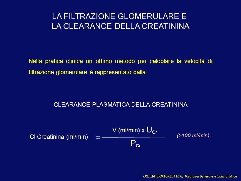 LA FILTRAZIONE GLOMERULARE E LA CLEARANCE DELLA CREATININA Nella pratica clinica un ottimo metodo per calcolare la velocità di filtrazione glomerulare