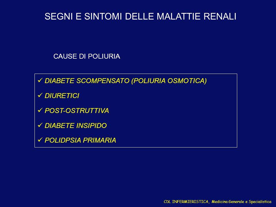 CDL INFERMIERISTICA, Medicina Generale e Specialistica DIABETE SCOMPENSATO (POLIURIA OSMOTICA) DIURETICI POST-OSTRUTTIVA DIABETE INSIPIDO POLIDPSIA PR