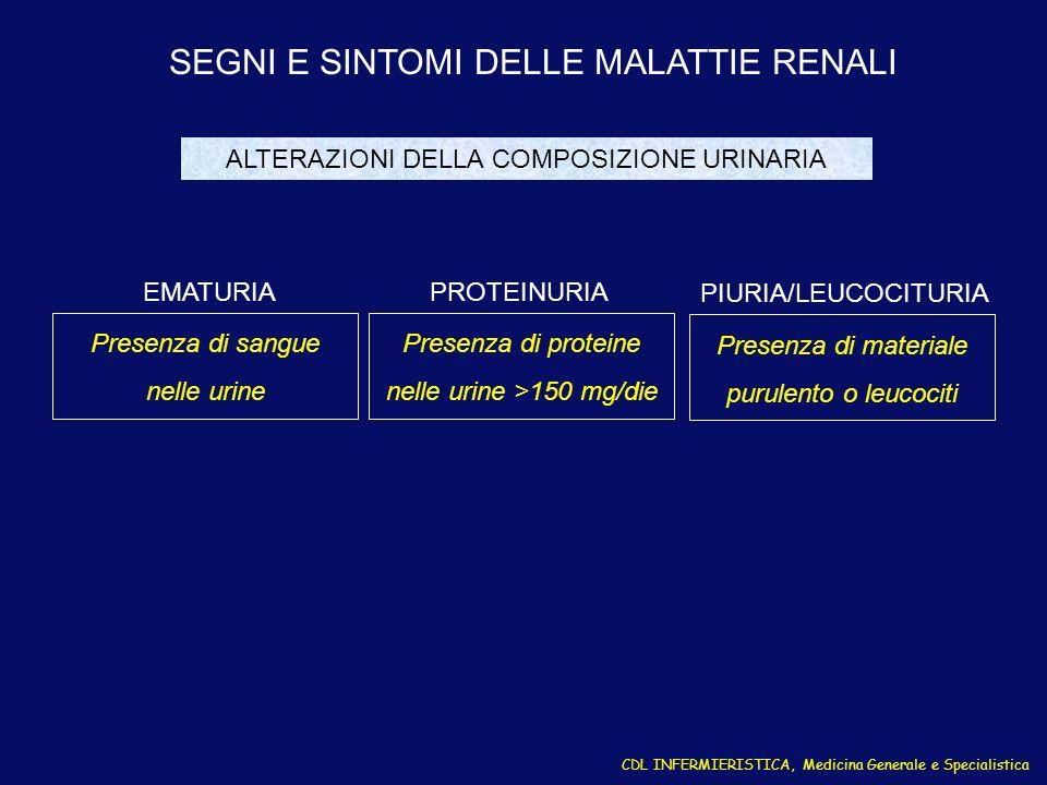 CDL INFERMIERISTICA, Medicina Generale e Specialistica SEGNI E SINTOMI DELLE MALATTIE RENALI Presenza di sangue nelle urine EMATURIA Presenza di prote