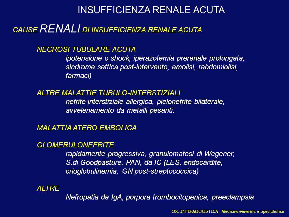 CDL INFERMIERISTICA, Medicina Generale e Specialistica INSUFFICIENZA RENALE ACUTA CAUSE RENALI DI INSUFFICIENZA RENALE ACUTA NECROSI TUBULARE ACUTA ip