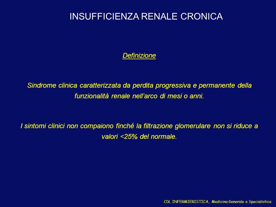 INSUFFICIENZA RENALE CRONICA Definizione Sindrome clinica caratterizzata da perdita progressiva e permanente della funzionalità renale nellarco di mes