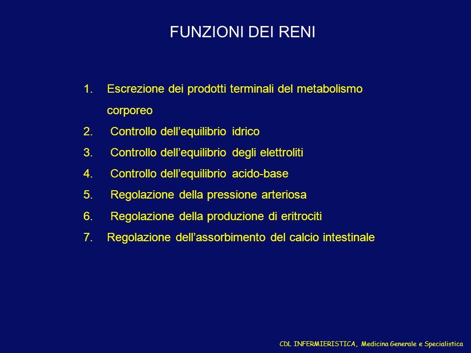 CDL INFERMIERISTICA, Medicina Generale e Specialistica LE 10 SINDROMI NEFROLOGICHE 1.INSUFFICIENZA RENALE ACUTA (O RAPIDAMENTE PROGRESSIVA) 2.NEFRITE ACUTA 3.INSUFFICIENZA RENALE CRONICA 4.SINDROME NEFROSICA 5.ALTERAZIONI URINARIE ASINTOMATICHE 6.INFEZIONE DELLE VIE URINARIE 7.DIFETTI DEI TUBULI RENALI 8.IPERTENSIONE 9.NEFROLITIASI 10.OSTRUZIONE DELLE VIE URINARIE