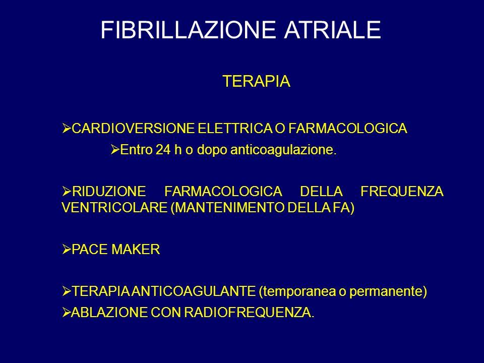 FIBRILLAZIONE ATRIALE TERAPIA CARDIOVERSIONE ELETTRICA O FARMACOLOGICA Entro 24 h o dopo anticoagulazione. RIDUZIONE FARMACOLOGICA DELLA FREQUENZA VEN