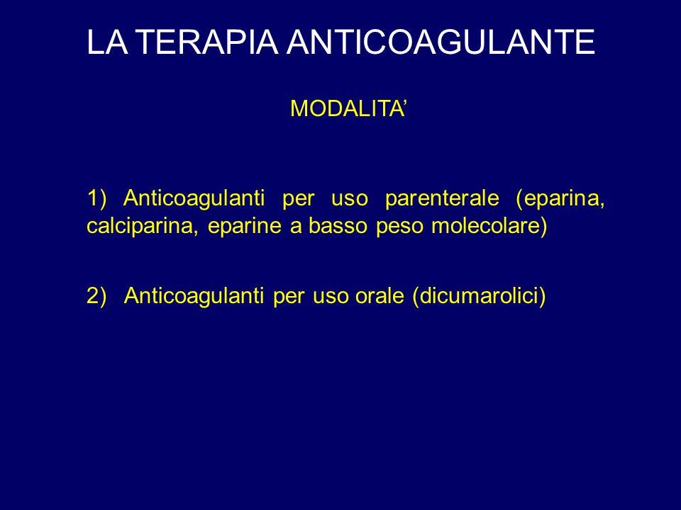 LA TERAPIA ANTICOAGULANTE MODALITA 1) Anticoagulanti per uso parenterale (eparina, calciparina, eparine a basso peso molecolare) 2) Anticoagulanti per uso orale (dicumarolici)