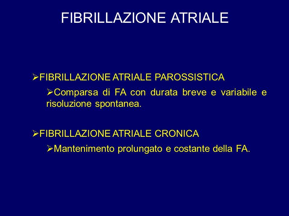 FIBRILLAZIONE ATRIALE FIBRILLAZIONE ATRIALE PAROSSISTICA Comparsa di FA con durata breve e variabile e risoluzione spontanea.