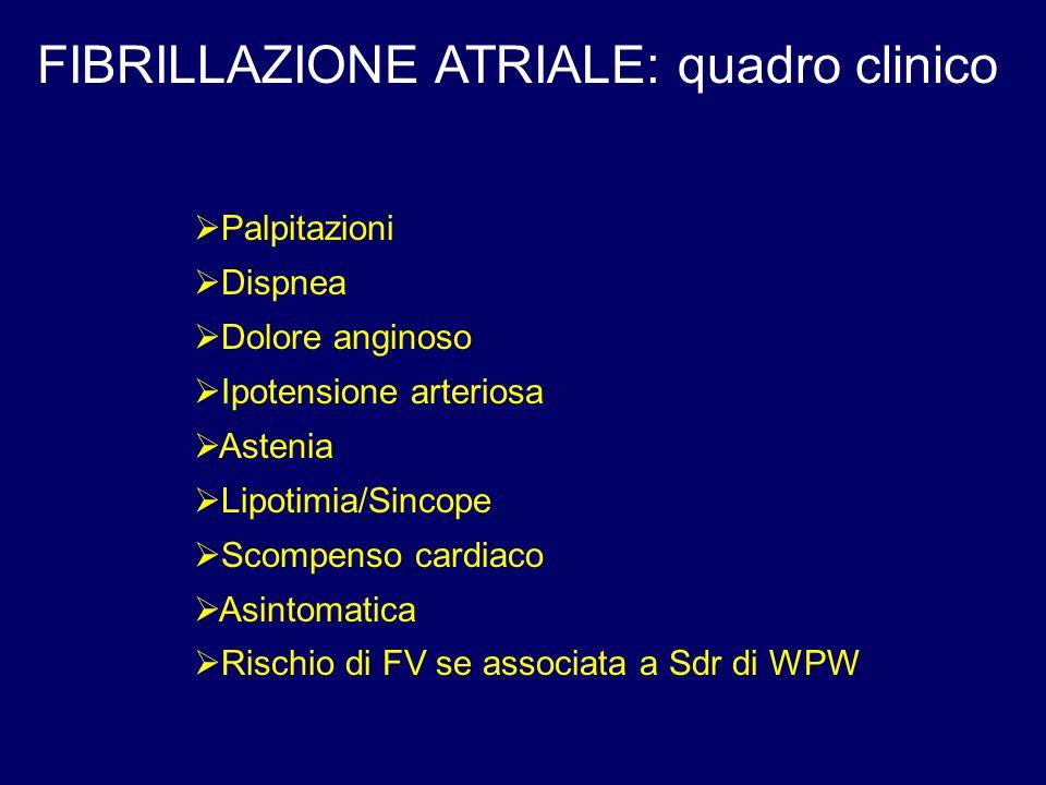 FIBRILLAZIONE ATRIALE: quadro clinico Palpitazioni Dispnea Dolore anginoso Ipotensione arteriosa Astenia Lipotimia/Sincope Scompenso cardiaco Asintoma