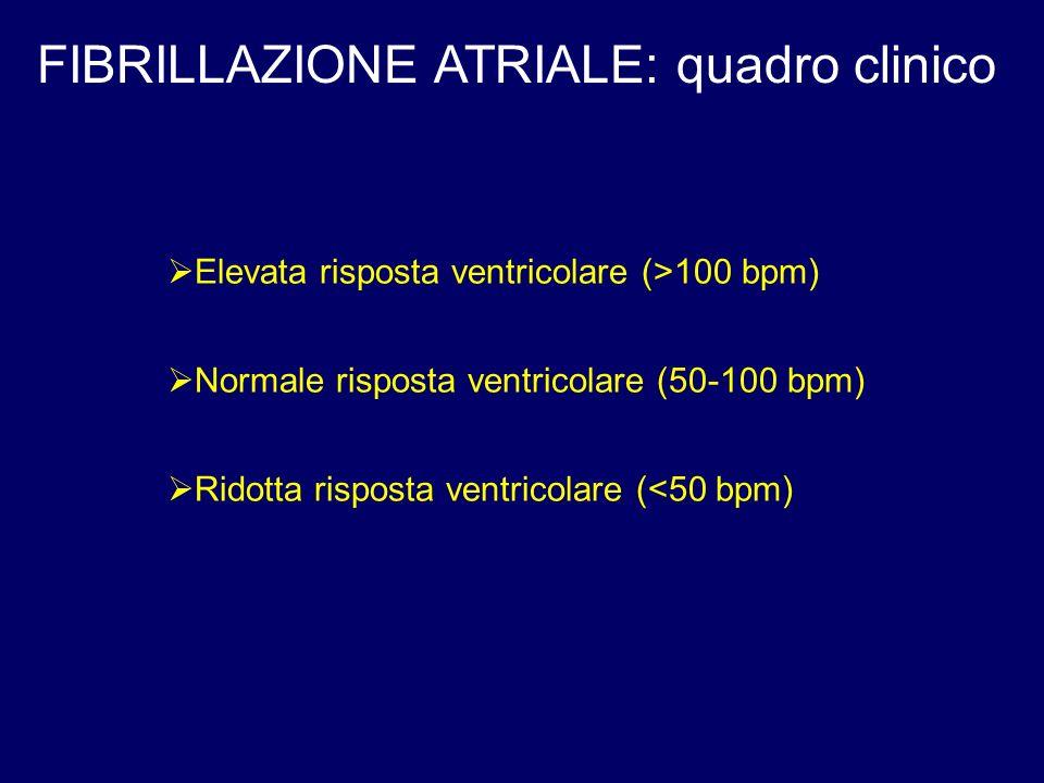 FIBRILLAZIONE ATRIALE: quadro clinico Elevata risposta ventricolare (>100 bpm) Normale risposta ventricolare (50-100 bpm) Ridotta risposta ventricolare (<50 bpm)