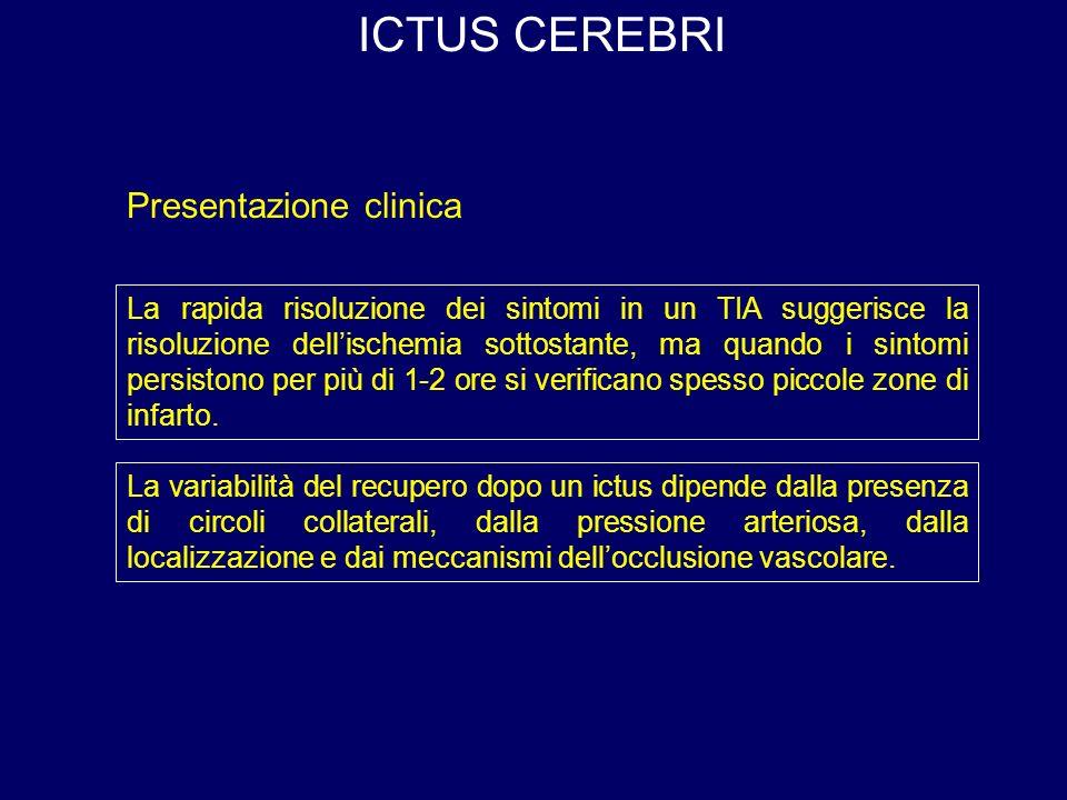 ICTUS CEREBRI La rapida risoluzione dei sintomi in un TIA suggerisce la risoluzione dellischemia sottostante, ma quando i sintomi persistono per più di 1-2 ore si verificano spesso piccole zone di infarto.