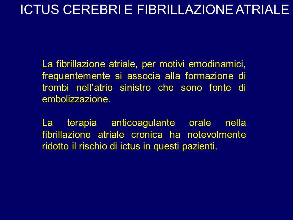 ICTUS CEREBRI E FIBRILLAZIONE ATRIALE La fibrillazione atriale, per motivi emodinamici, frequentemente si associa alla formazione di trombi nellatrio sinistro che sono fonte di embolizzazione.
