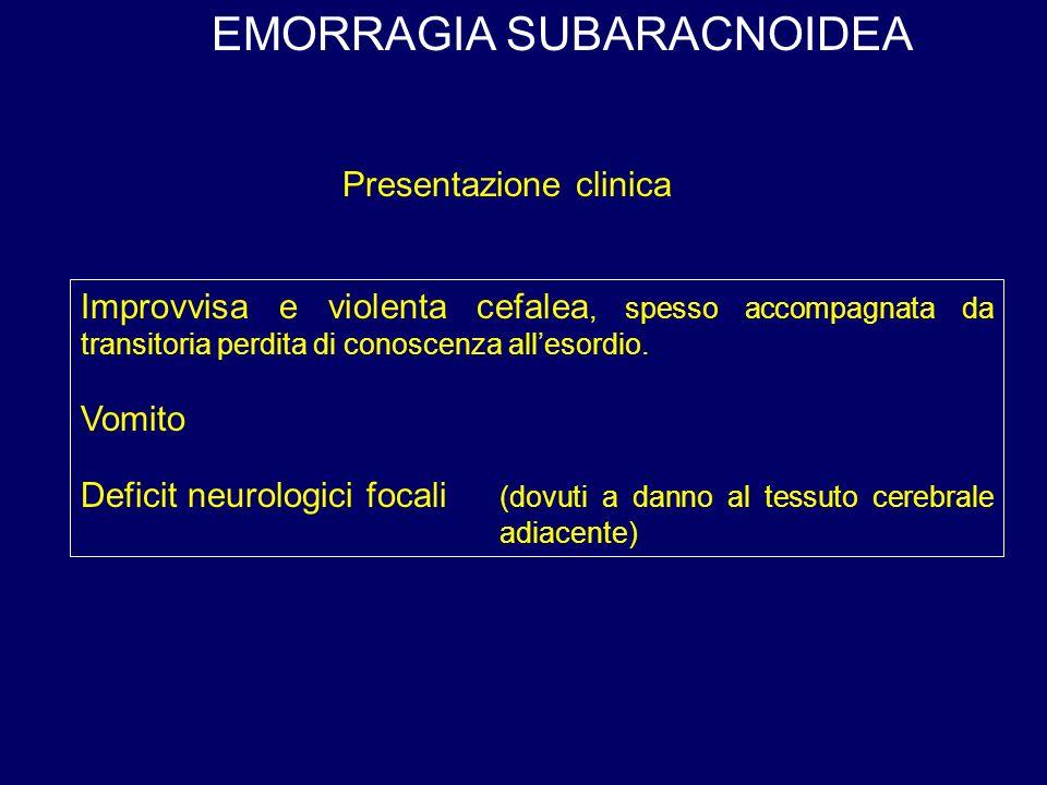 EMORRAGIA SUBARACNOIDEA Improvvisa e violenta cefalea, spesso accompagnata da transitoria perdita di conoscenza allesordio.