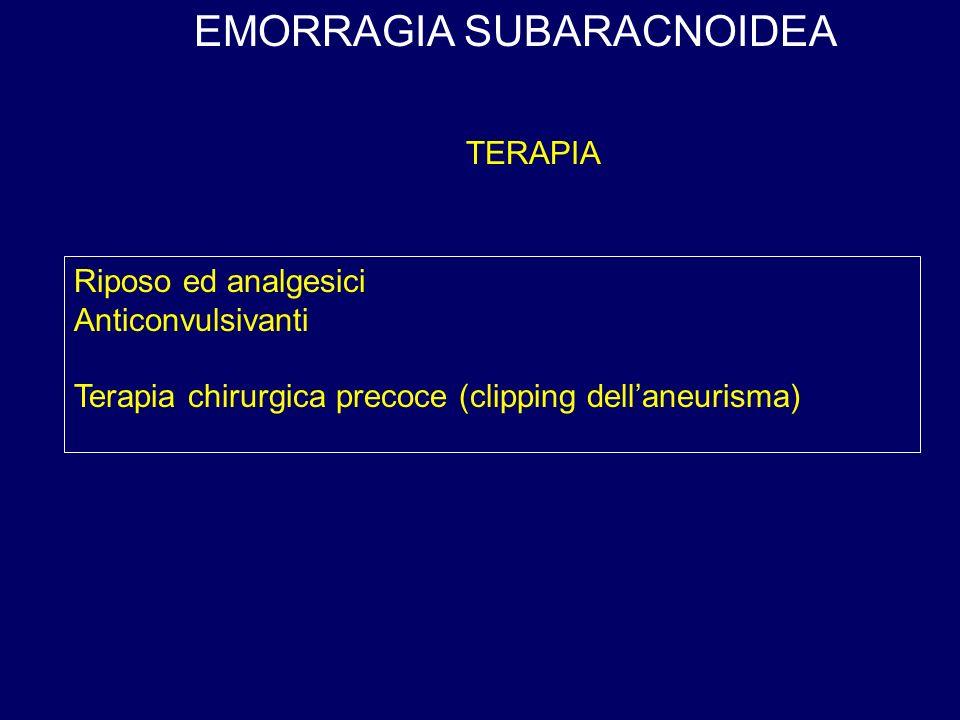 EMORRAGIA SUBARACNOIDEA Riposo ed analgesici Anticonvulsivanti Terapia chirurgica precoce (clipping dellaneurisma) TERAPIA