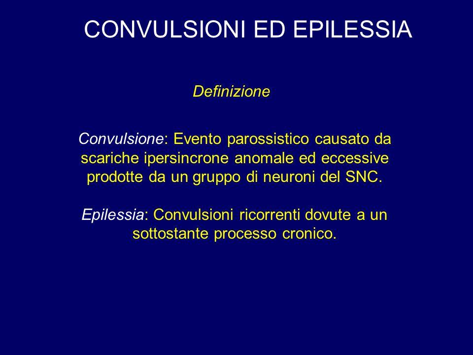 CONVULSIONI ED EPILESSIA Convulsione: Evento parossistico causato da scariche ipersincrone anomale ed eccessive prodotte da un gruppo di neuroni del SNC.