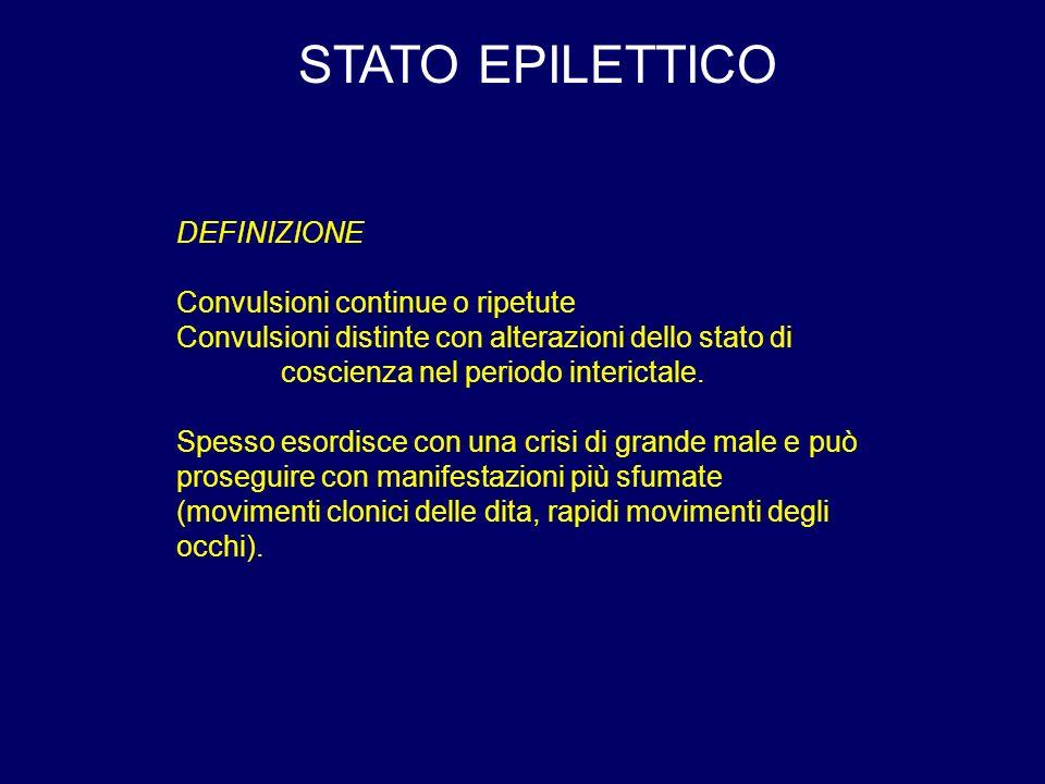 STATO EPILETTICO DEFINIZIONE Convulsioni continue o ripetute Convulsioni distinte con alterazioni dello stato di coscienza nel periodo interictale.