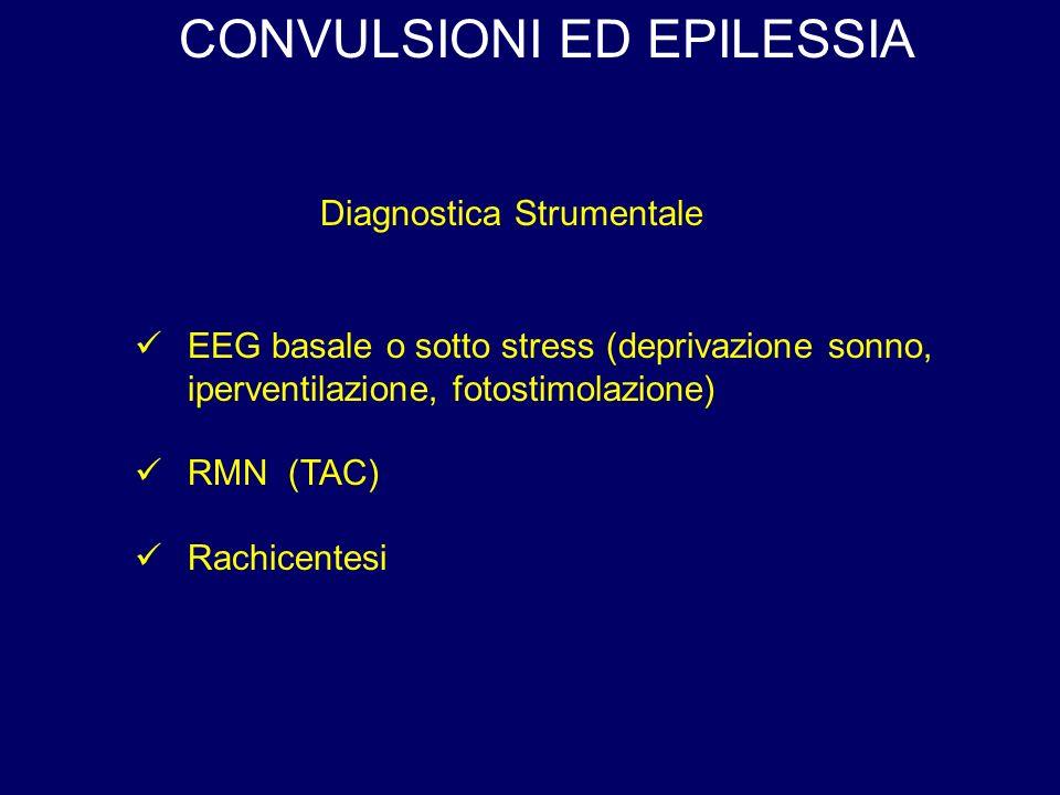 CONVULSIONI ED EPILESSIA Diagnostica Strumentale EEG basale o sotto stress (deprivazione sonno, iperventilazione, fotostimolazione) RMN (TAC) Rachicentesi