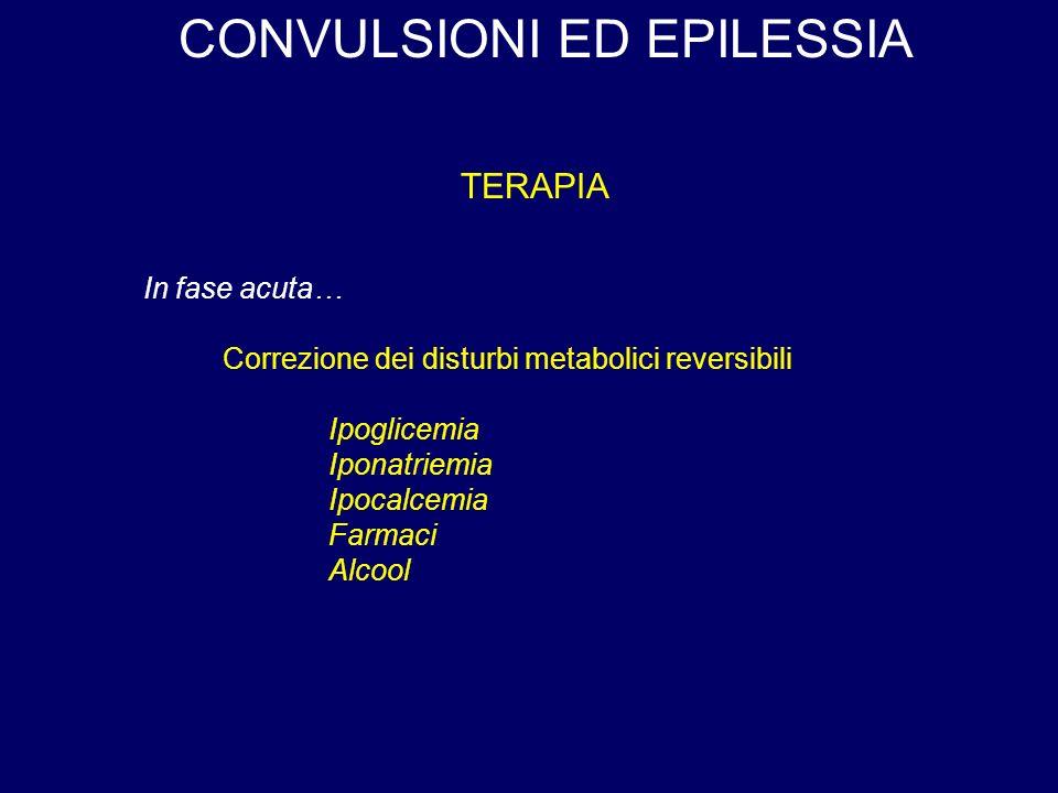 CONVULSIONI ED EPILESSIA TERAPIA Correzione dei disturbi metabolici reversibili Ipoglicemia Iponatriemia Ipocalcemia Farmaci Alcool In fase acuta…