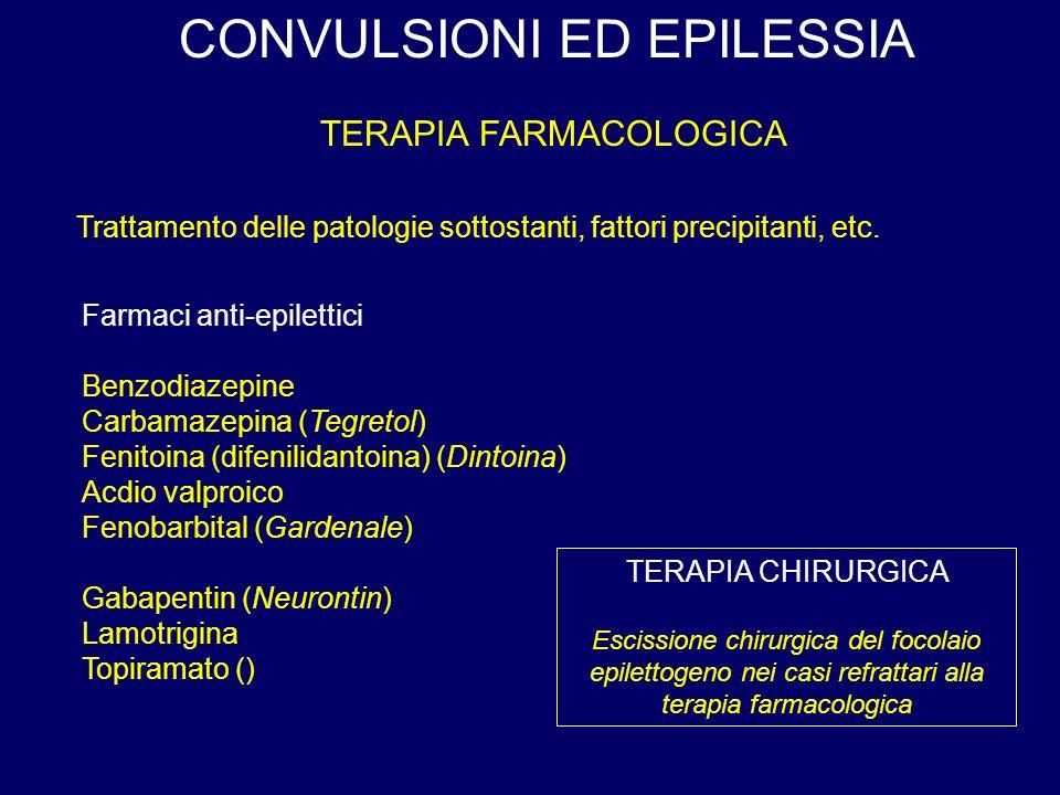 CONVULSIONI ED EPILESSIA TERAPIA FARMACOLOGICA Farmaci anti-epilettici Benzodiazepine Carbamazepina (Tegretol) Fenitoina (difenilidantoina) (Dintoina) Acdio valproico Fenobarbital (Gardenale) Gabapentin (Neurontin) Lamotrigina Topiramato () TERAPIA CHIRURGICA Escissione chirurgica del focolaio epilettogeno nei casi refrattari alla terapia farmacologica Trattamento delle patologie sottostanti, fattori precipitanti, etc.