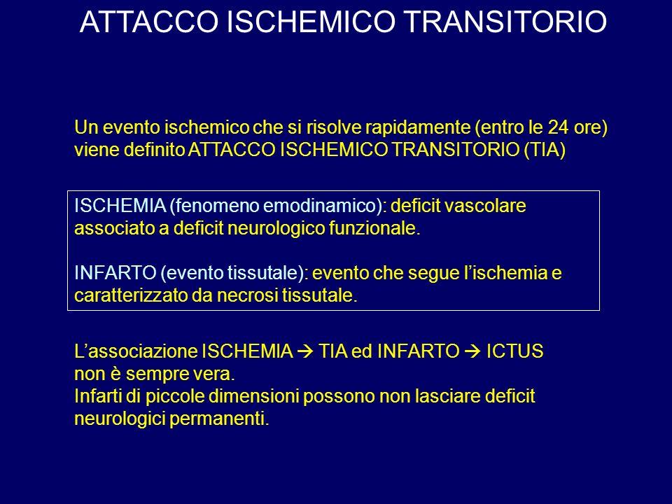 ISCHEMIA (fenomeno emodinamico): deficit vascolare associato a deficit neurologico funzionale.
