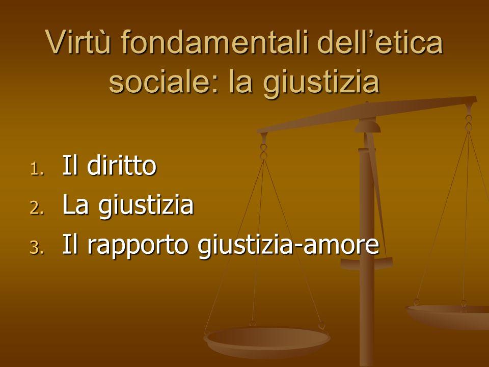 Virtù fondamentali delletica sociale: la giustizia 1. Il diritto 2. La giustizia 3. Il rapporto giustizia-amore