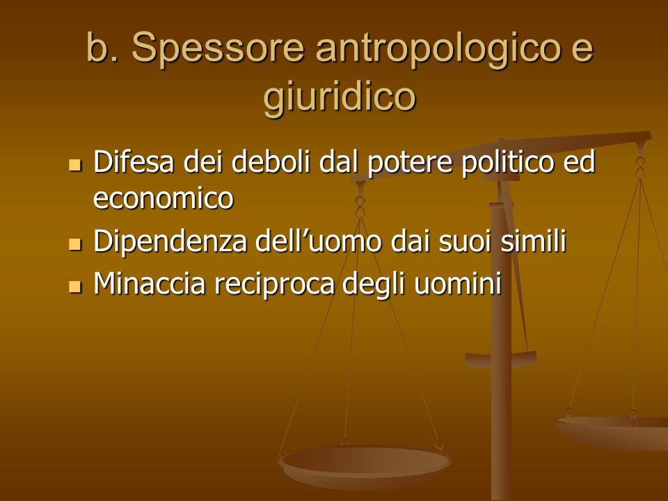b. Spessore antropologico e giuridico Difesa dei deboli dal potere politico ed economico Difesa dei deboli dal potere politico ed economico Dipendenza