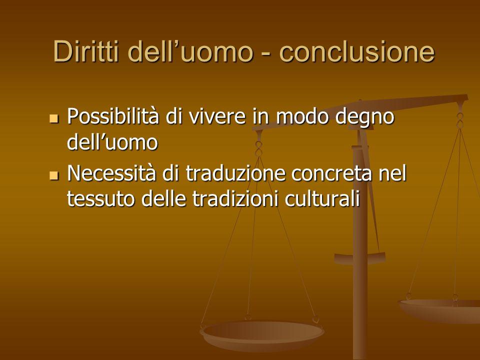 Diritti delluomo - conclusione Possibilità di vivere in modo degno delluomo Possibilità di vivere in modo degno delluomo Necessità di traduzione concr
