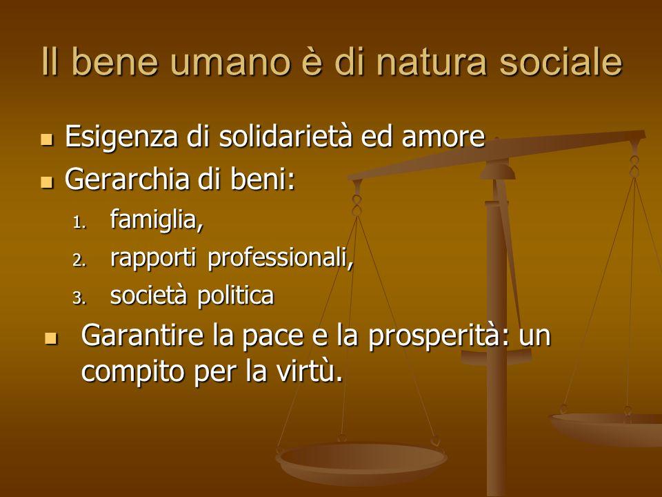 Il bene umano è di natura sociale Esigenza di solidarietà ed amore Esigenza di solidarietà ed amore Gerarchia di beni: Gerarchia di beni: 1. famiglia,