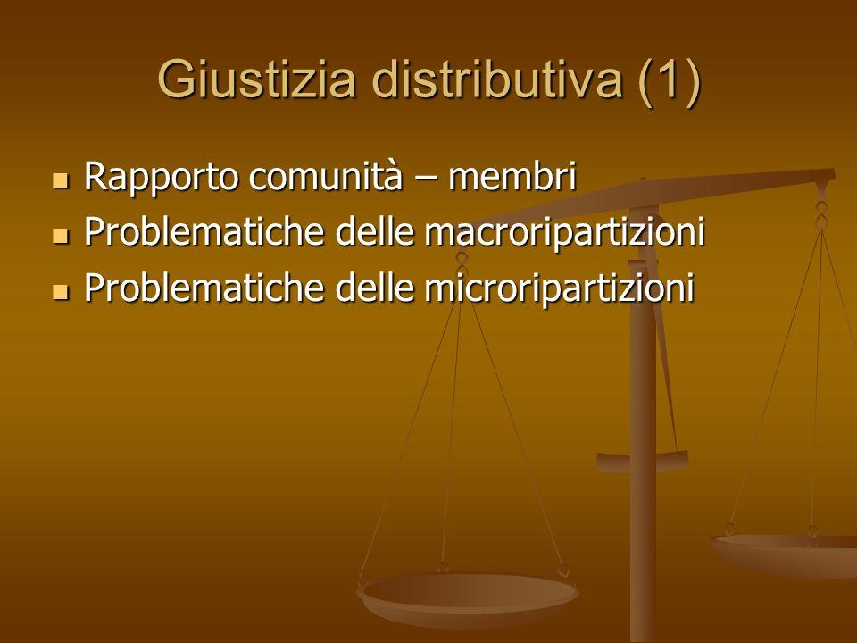 Giustizia distributiva (1) Rapporto comunità – membri Rapporto comunità – membri Problematiche delle macroripartizioni Problematiche delle macroripart