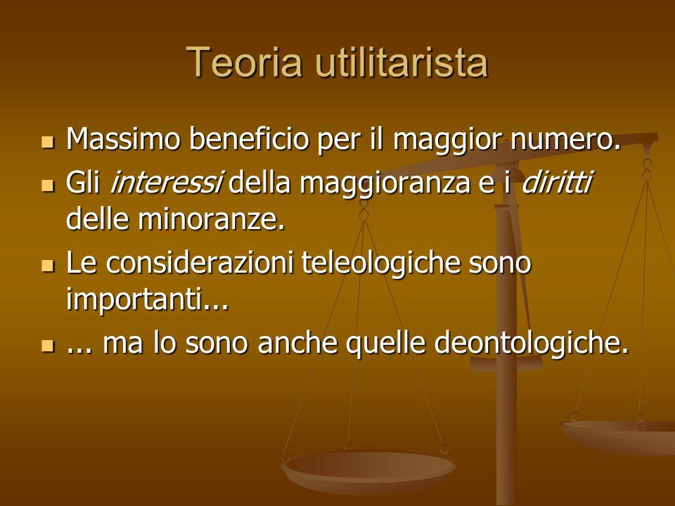 Teoria utilitarista Massimo beneficio per il maggior numero. Massimo beneficio per il maggior numero. Gli interessi della maggioranza e i diritti dell