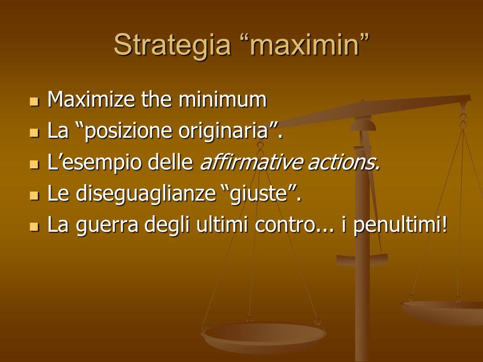 Strategia maximin Maximize the minimum Maximize the minimum La posizione originaria. La posizione originaria. Lesempio delle affirmative actions. Lese