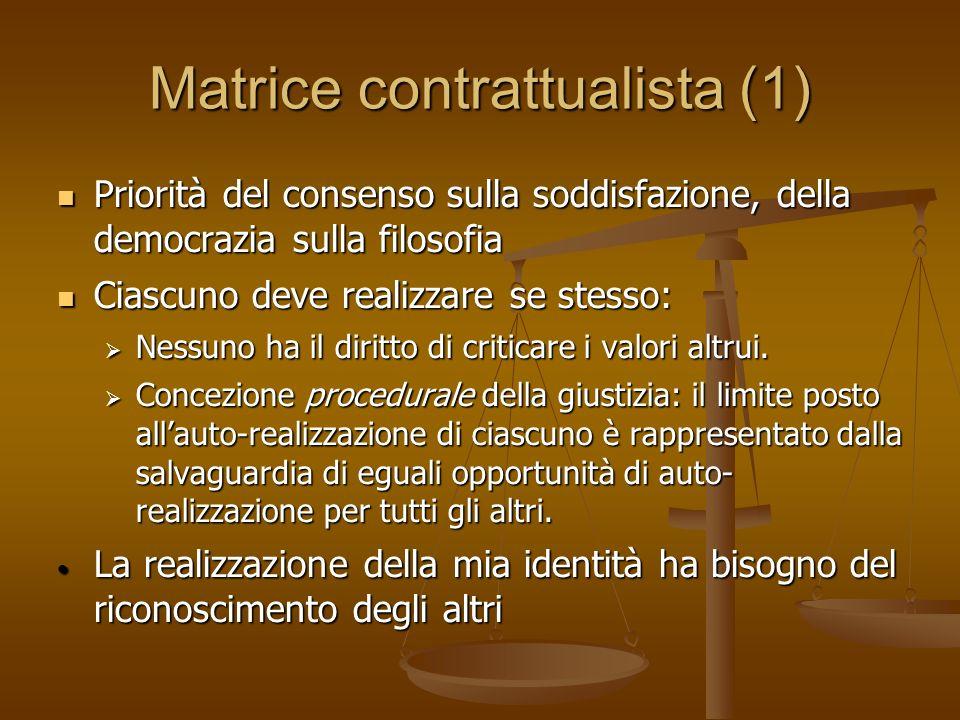 Matrice contrattualista (1) Priorità del consenso sulla soddisfazione, della democrazia sulla filosofia Priorità del consenso sulla soddisfazione, del