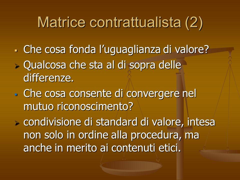 Matrice contrattualista (2) Che cosa fonda luguaglianza di valore? Che cosa fonda luguaglianza di valore? Qualcosa che sta al di sopra delle differenz