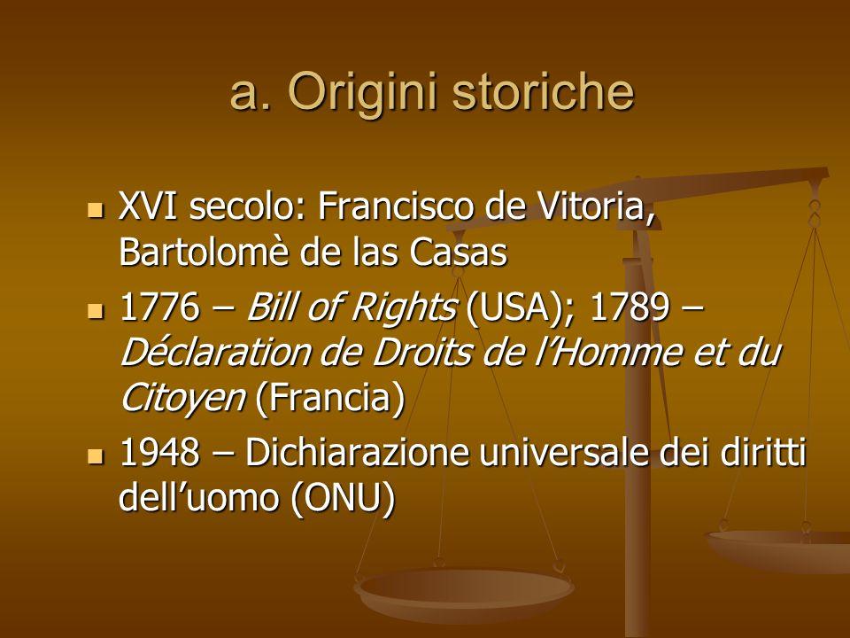 a. Origini storiche XVI secolo: Francisco de Vitoria, Bartolomè de las Casas 1776 – Bill of Rights (USA); 1789 – Déclaration de Droits de lHomme et du