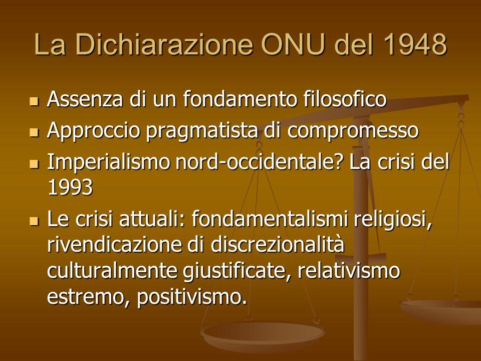 La Dichiarazione ONU del 1948 Assenza di un fondamento filosofico Assenza di un fondamento filosofico Approccio pragmatista di compromesso Approccio p