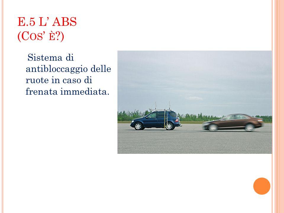 E.5 L ABS (C OS È ?) Sistema di antibloccaggio delle ruote in caso di frenata immediata.