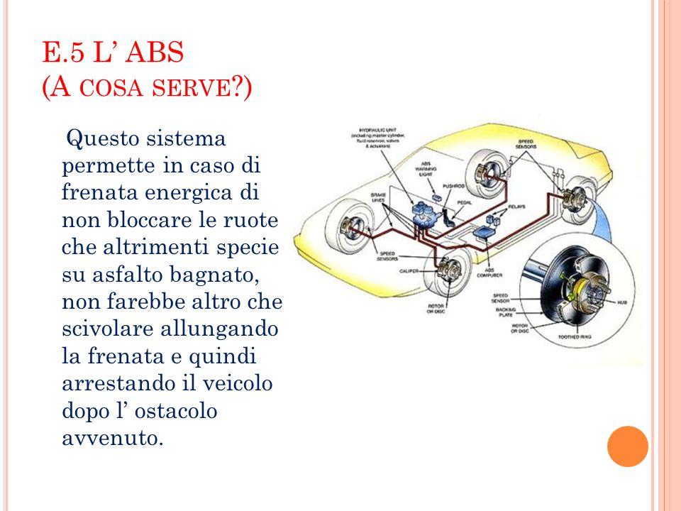 E.5 L ABS (A COSA SERVE ?) Questo sistema permette in caso di frenata energica di non bloccare le ruote che altrimenti specie su asfalto bagnato, non