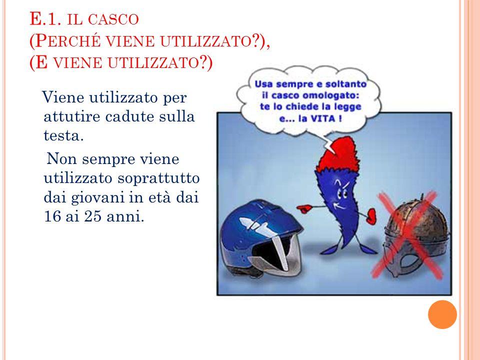 E.1. IL CASCO (P ERCHÉ VIENE UTILIZZATO ?), (E VIENE UTILIZZATO ?) Viene utilizzato per attutire cadute sulla testa. Non sempre viene utilizzato sopra