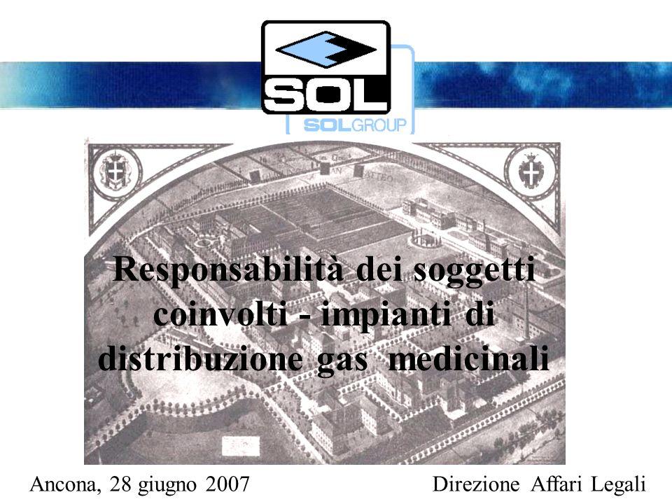 Ancona, 28 giugno 2007Direzione Affari Legali Responsabilità dei soggetti coinvolti - impianti di distribuzione gas medicinali