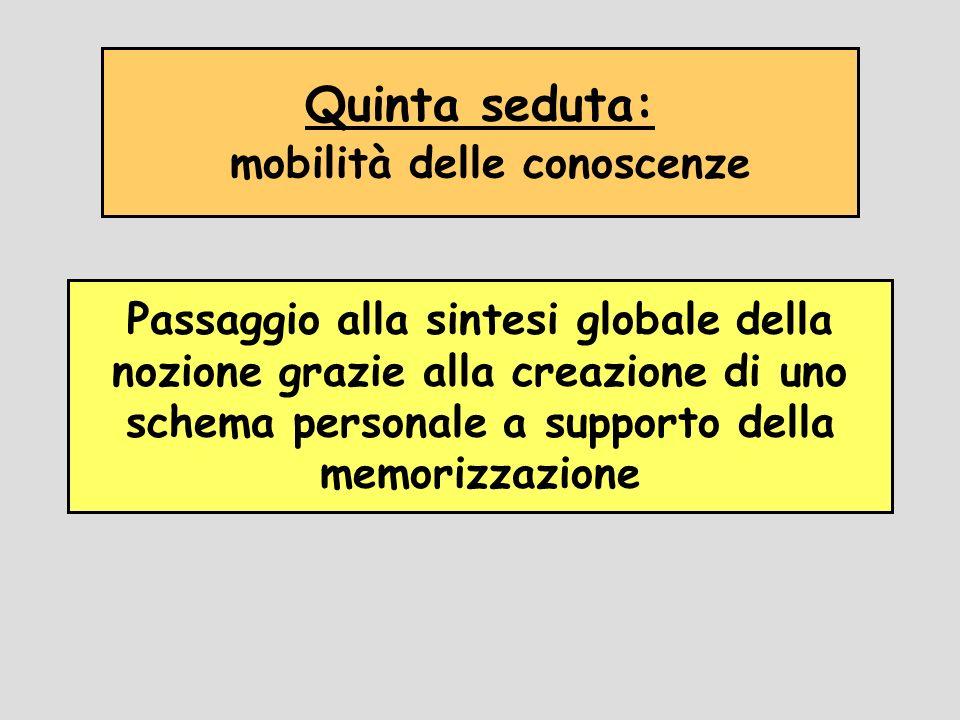 Quinta seduta: mobilità delle conoscenze Passaggio alla sintesi globale della nozione grazie alla creazione di uno schema personale a supporto della m