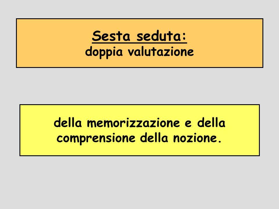 Sesta seduta: doppia valutazione della memorizzazione e della comprensione della nozione.