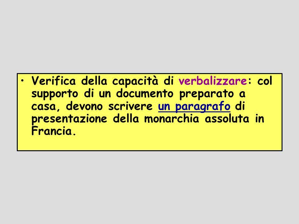 Verifica della capacità di verbalizzare: col supporto di un documento preparato a casa, devono scrivere un paragrafo di presentazione della monarchia