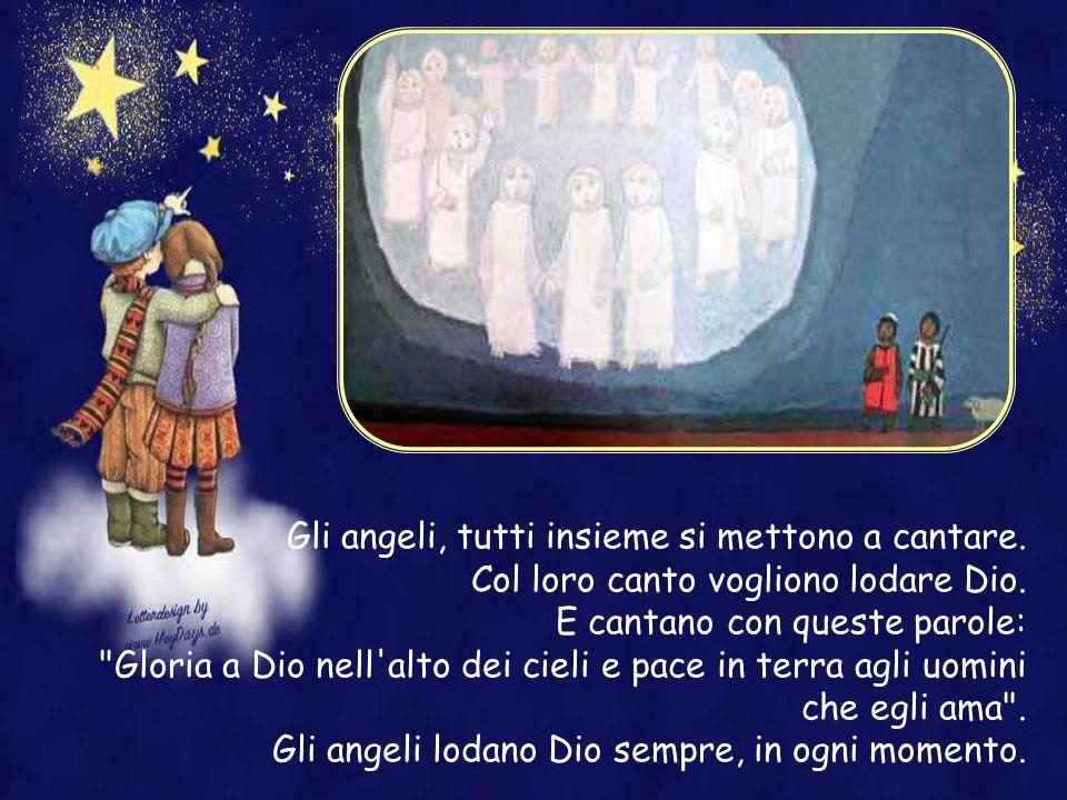 Mentre ancora l'angelo sta parlando, improvvisamente un'altra luce più grande. Una visione si apre davanti a loro. Vedono una grande numero di angeli,