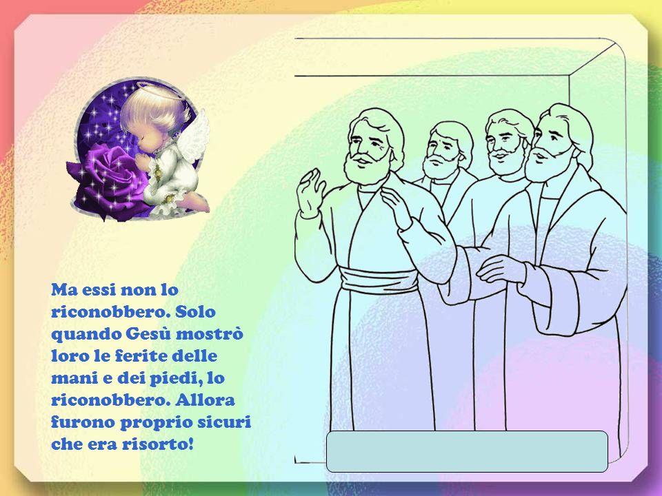 I discepoli di Gesù erano riuniti con Maria in una sala. Allimprovviso Gesù apparve in mezzo a loro e disse: La pace sia con voi.