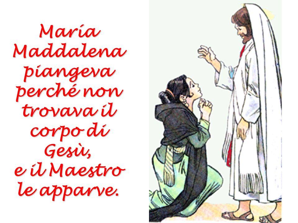 Quando le donne andarono per imbalsamare Gesù, il sepolcro era vuoto. E apparvero loro alcuni angeli. Non cercatelo qui. Gesù è risorto! Non cercatelo