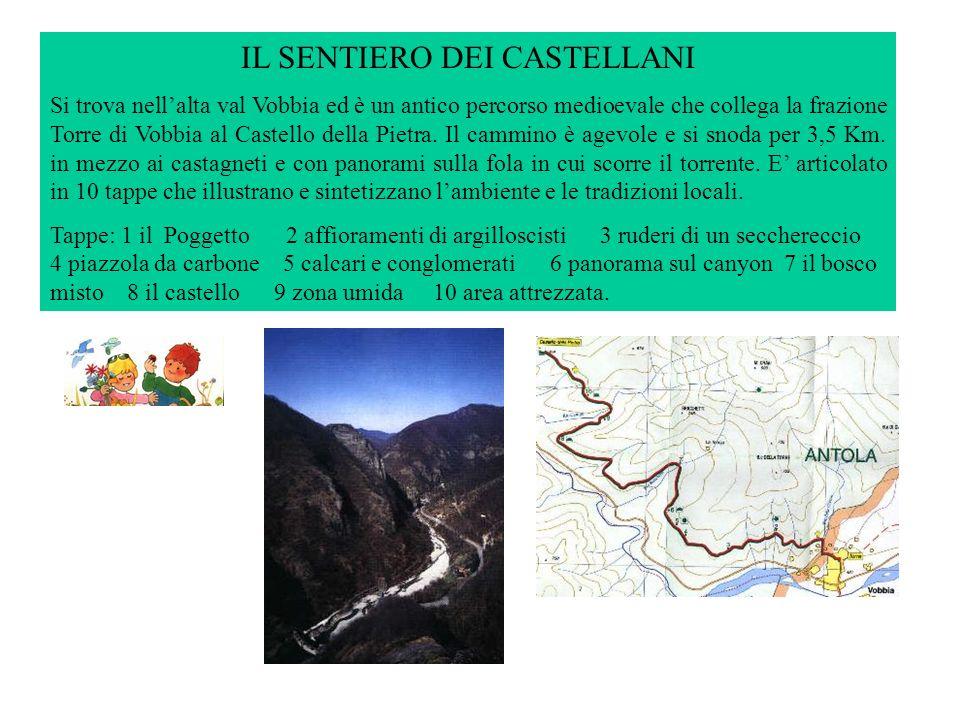 IL SENTIERO DEI CASTELLANI Si trova nellalta val Vobbia ed è un antico percorso medioevale che collega la frazione Torre di Vobbia al Castello della Pietra.