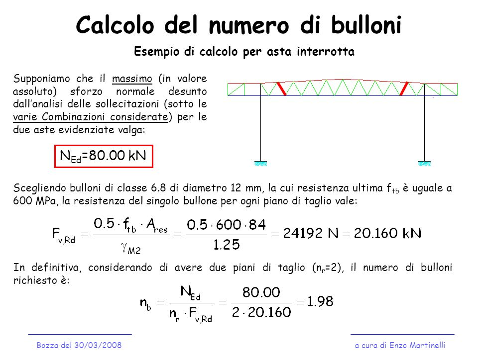 Calcolo del numero di bulloni a cura di Enzo MartinelliBozza del 30/03/2008 Esempio di calcolo per asta interrotta Supponiamo che il massimo (in valor