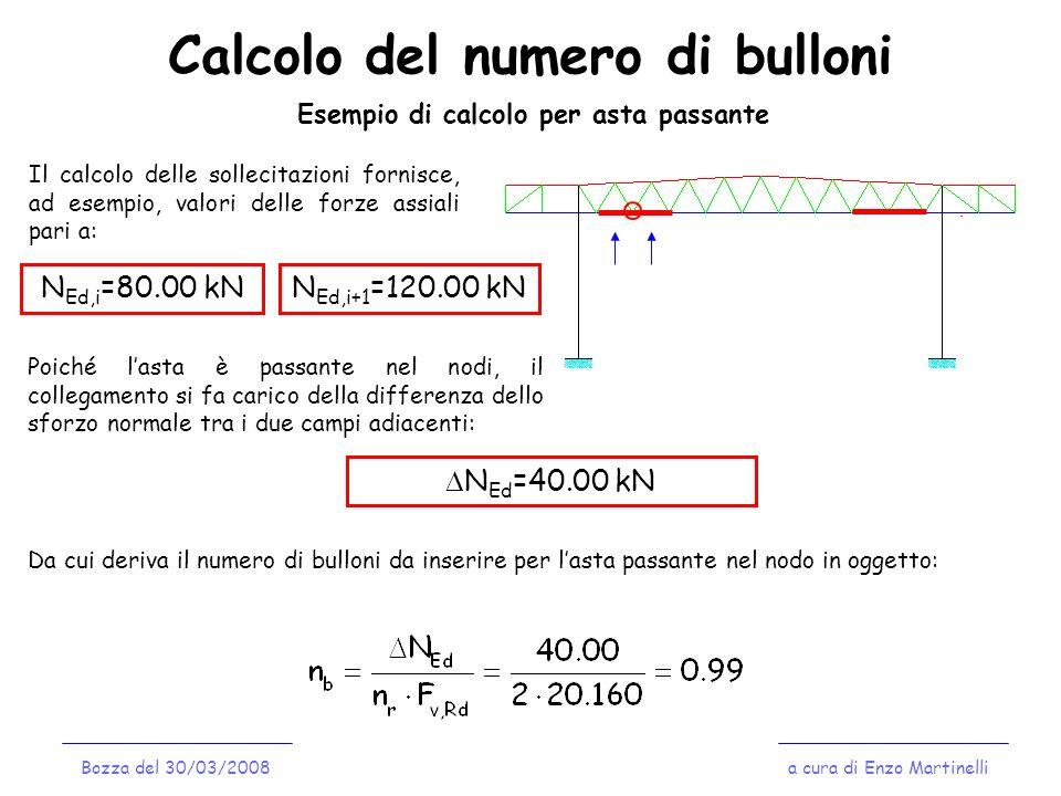 Calcolo del numero di bulloni a cura di Enzo MartinelliBozza del 30/03/2008 Esempio di calcolo per asta passante Il calcolo delle sollecitazioni forni