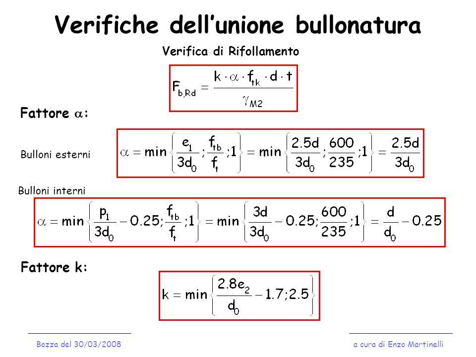 Verifiche dellunione bullonatura a cura di Enzo MartinelliBozza del 30/03/2008 Verifica di Rifollamento Fattore : Bulloni esterni Bulloni interni Fatt
