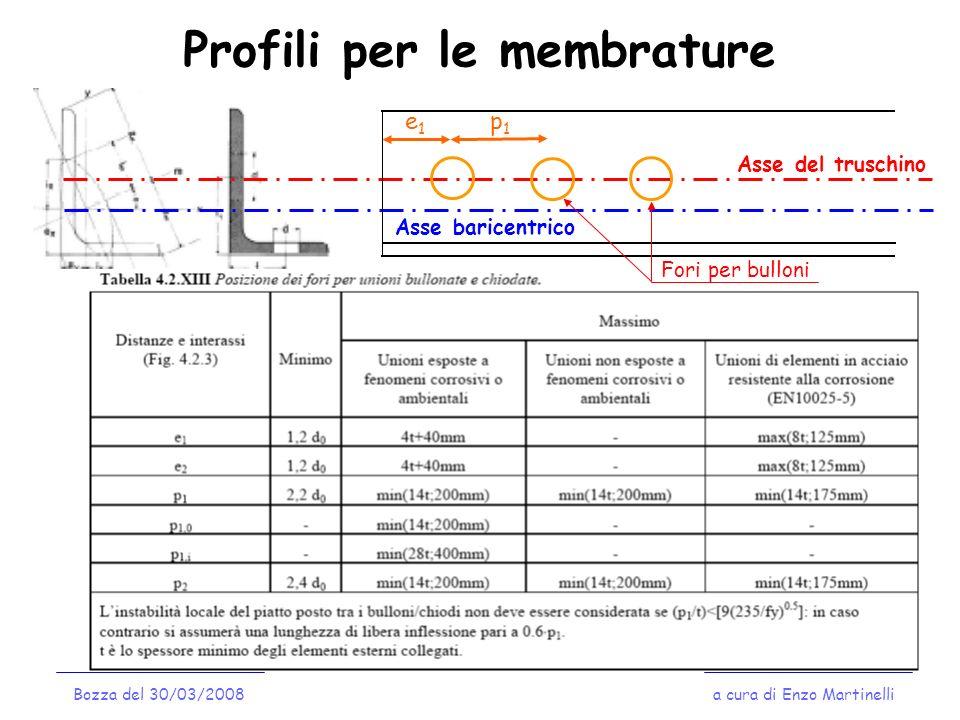 Profili per le membrature a cura di Enzo MartinelliBozza del 30/03/2008 Asse del truschino Asse baricentrico e1e1 p1p1 Fori per bulloni