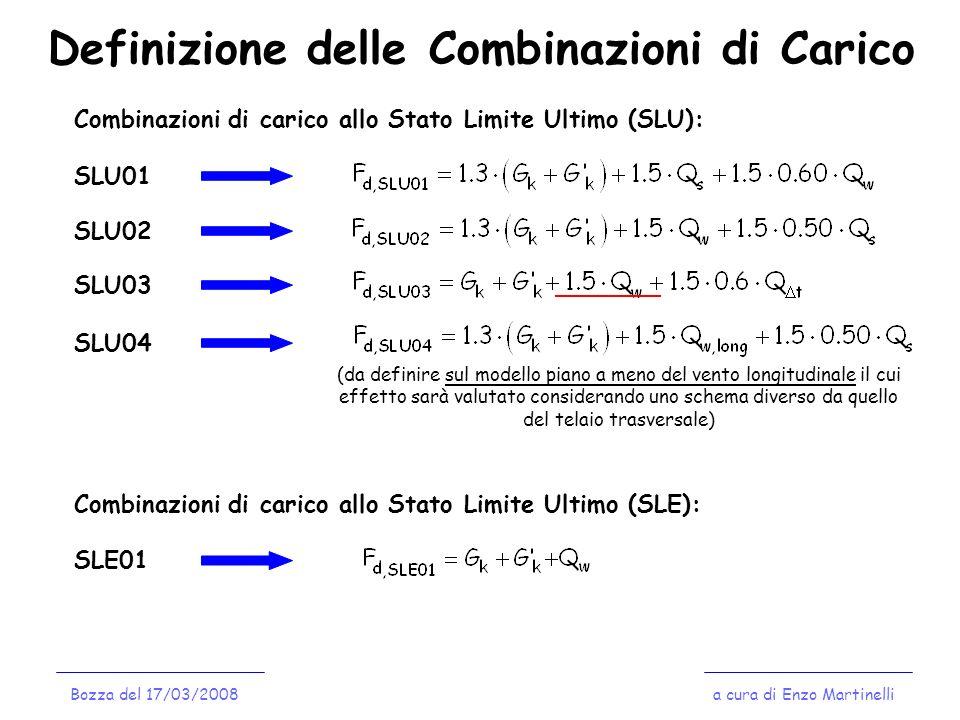 Definizione delle Combinazioni di Carico a cura di Enzo MartinelliBozza del 17/03/2008 Combinazioni di carico allo Stato Limite Ultimo (SLU): SLU01 SL