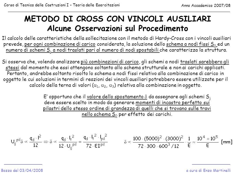 METODO DI CROSS CON VINCOLI AUSILIARI Alcune Osservazioni sul Procedimento Corso di Tecnica delle Costruzioni I - Teoria delle Esercitazioni Anno Acca